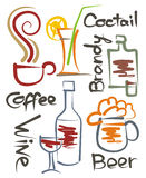 Beverages. A set of stylized images of different beverages, the Royalty Free Stock Images