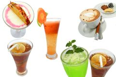Beverages. Kind of beverage, Caribbean Cruiser,carrot juice,cappuccino,iced tea,green tea royalty free stock photography