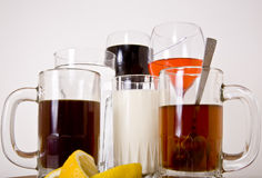 Beverages. Serving a selection of beverages including Water, soda, wine, tea, coffee and milk Royalty Free Stock Photo