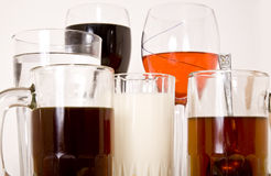 Beverages. Serving a selection of beverages including Water, soda, wine, tea, coffee and milk Royalty Free Stock Image