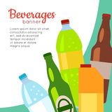 Beverages Banner. Set of Drinks in Bottles. And packs. Healthy and junk drinks. Alcoholic and nonalcoholic beverages. Part of series of promotion healthy diet Stock Photo