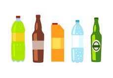 Beverages Banner. Set of Drinks in Bottles. Beverages  white. Set of drinks in bottles and packs. Healthy and junk drinks. Alcoholic and nonalcoholic beverages Stock Image