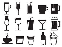 Beverages Black and White Vector Icon Set Stock Photos
