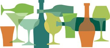 Beverages, bottels and glasses in green colors-1 Royalty Free Stock Photography