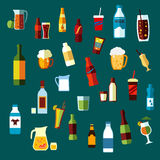 Beverages, Cocktails And Drinks Flat Icons Stock Images