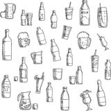 Beverages, cocktails and drinks sketched icons Royalty Free Stock Photography