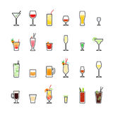 Beverages color icons set on white background Stock Photography