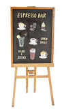 Beverages colored doodles on menu board Stock Image