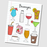 Beverages doodles - lined paper Stock Image