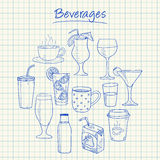Beverages doodles - squared paper Stock Images