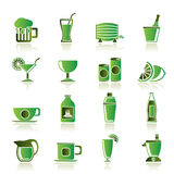 Beverages and drink icons. Icon set stock illustration