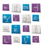 Beverages and drink icons Royalty Free Stock Image