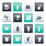 Beverages and drink icons over color background. Vector icon set vector illustration