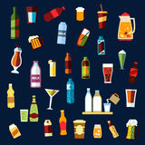 Beverages and drinks flat icons set Stock Images