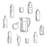 Beverages and drinks sketches set Stock Image