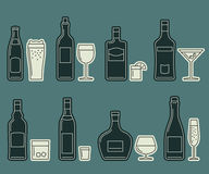 Beverages and drinks thin icons Stock Photo