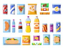 Beverages food. Plastic containers fastfood drinks and snacks candy biscuits chips vector flat illustrations isolated. Candy and beverage, sandwich and drink vector illustration
