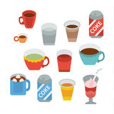 Beverages full color flat design Stock Photo