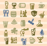 Beverages icons Stock Photography