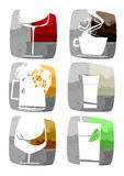Beverages icons Stock Images