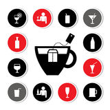 Beverages icons set Royalty Free Stock Photos