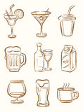 Beverages icons Stock Photo