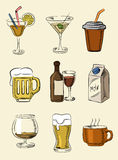 Beverages icons Stock Photos