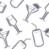 Beverages. Seamless pattern for the menu design. Illustration Stock Images