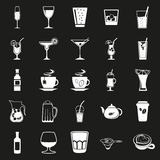 Beverages simple black icons set Royalty Free Stock Photography