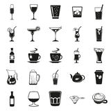 Beverages simple black icons set Royalty Free Stock Images