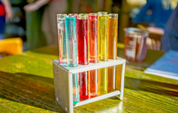 Beverages in test tubes Royalty Free Stock Images