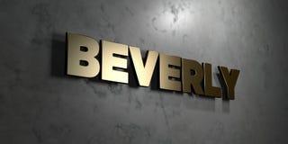Beverly - guld- tecken som monteras på den glansiga marmorväggen - 3D framförde den fria materielillustrationen för royalty stock illustrationer