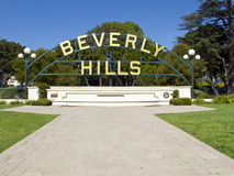Beverly Hills. CA - Nov 19: Beverly Gardens Park is a park which stretches along Santa Monica Boulevard in , California on Nov 19, 2010 royalty free stock photos