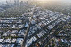 Beverly Hills Aerial in Los Angeles Couty California. Beverly Hills, California, USA - April 18, 2018:  Aerial view of the famous Beverly Hills business district Stock Image