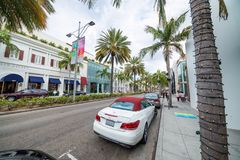 BEVERLY HILLS, CA - Rodeo Drive with tourists. Beverly Hills is Stock Photography