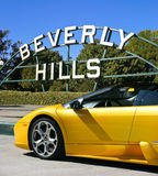 Beverly Hills, California. Luxury car arrives at Beverly Hills Royalty Free Stock Image