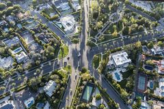 Beverly Hills California Aerial Six Way Residential Intersection Royalty Free Stock Images