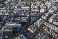 Beverly Hills California Business District Aerial Royalty Free Stock Image