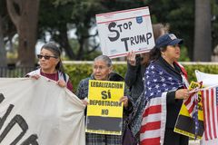 Defend Dreamers Rally signs of Stop Trump. BEVERLY HILLS, CALIFORNIA - MARCH 12, 2018: Defend Dreamers Rally hosted by Coalition for Humane Immigrant Rights Stock Photo