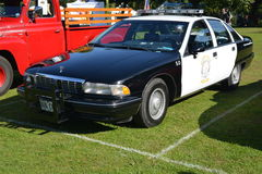Beverly Hills Chevrolet police car. Classic vintage collectors car Beverly hills black and white police cop car on display at Rotherham show in South Yorkshire stock images