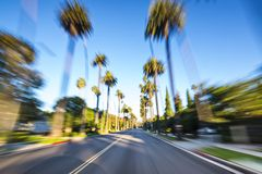 Beverly Hills. Drive through with motion blur Stock Images