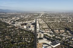Beverly Hills Kalifornia Wilshire i Snata Monica Blvds antena Obraz Stock