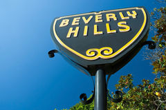 Beverly Hills kennzeichnen herein Los Angeles-Nahaufnahmeansicht stockfotos