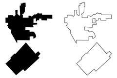 Beverly Hills och San Fernando översiktsvektor stock illustrationer