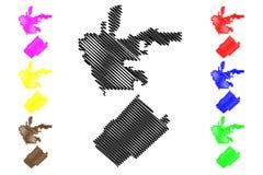 Beverly Hills och San Fernando översiktsvektor royaltyfri illustrationer