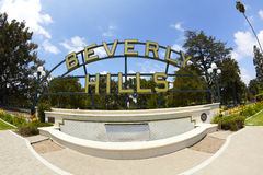 Beverly Hills Park Fountain and Sign Stock Photography