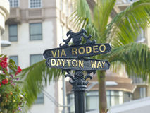 Beverly Hills Rodeo Drive Sign. World famous Rodeo Drive in Beverly Hills sign post located at Via Rodeo and Dayton Way on Rodeo Drive Stock Photos
