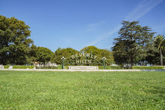 Beverly Hills Sign at Beverly Gardens Park. Beverly Hills, MAR 24: Beverly Hills Sign on MAR 24, 2017 at Beverly Gardens Park, Los Angeles, California royalty free stock image