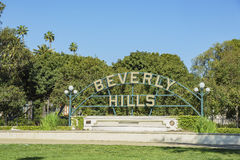 Beverly Hills Sign at Beverly Gardens Park. Beverly Hills, MAR 24: Beverly Hills Sign on MAR 24, 2017 at Beverly Gardens Park, Los Angeles, California royalty free stock images
