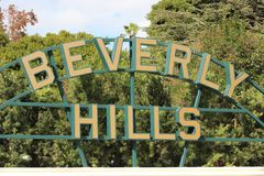 Beverly Hills sign closeup during the day stock images